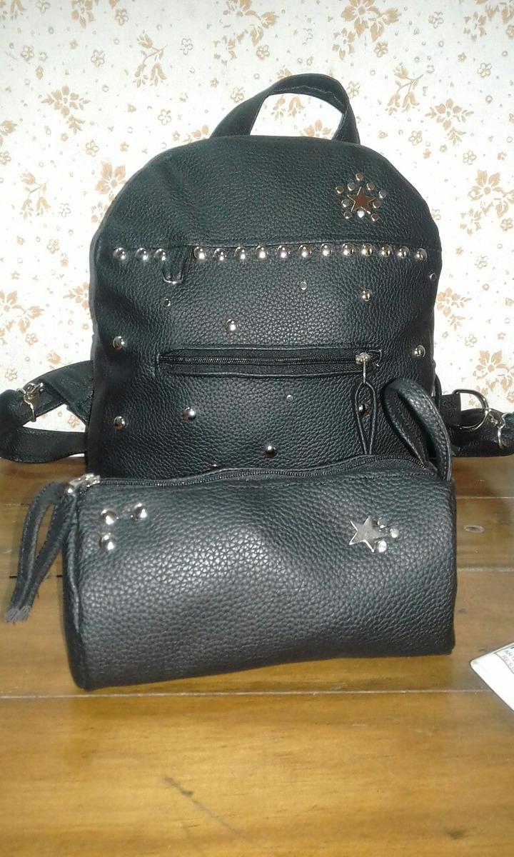 571ce5d8198 mochila ecocuero pu negra de dama + portacosméticos. Cargando zoom.