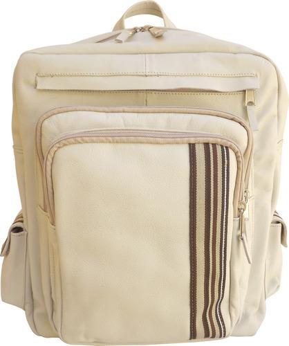 mochila em couro gelo para notebook até 15,6 + brinde