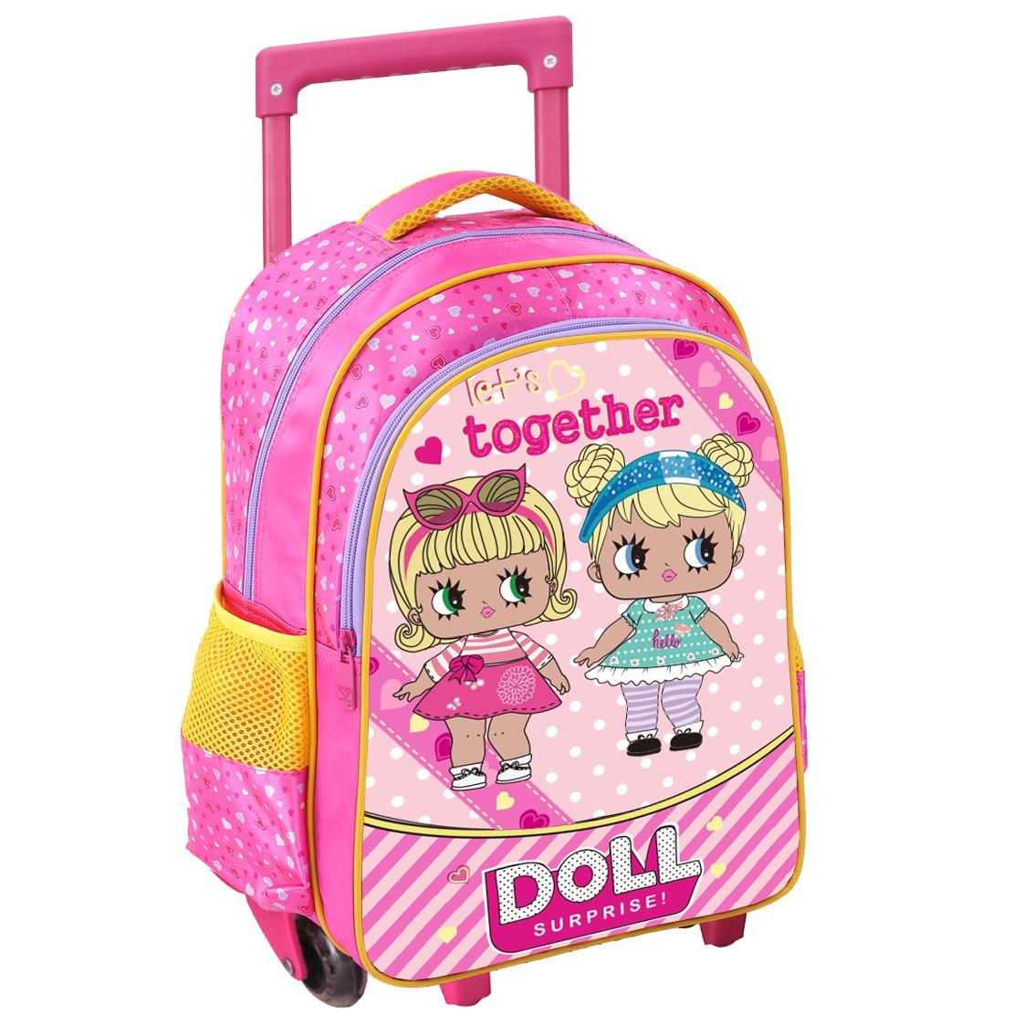 f07b15898 Mochila Escolar Carrinho Rodinhas Feminina Infantil 2019 Boa - R$ 119,49 em  Mercado Livre