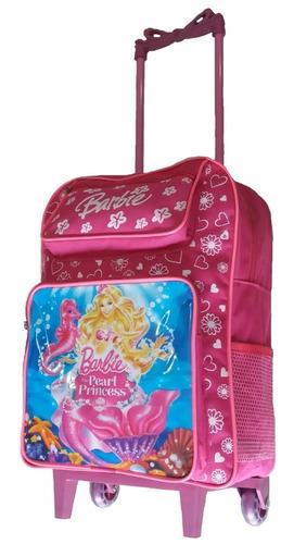 mochila escolar feminina barbie linda meninas com rodinhas g