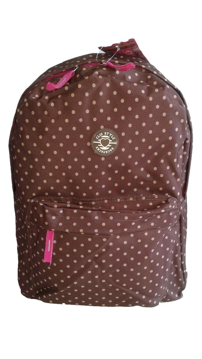 5ddf5ae80 mochila escolar feminina clio style marrom bolinhas. Carregando zoom.