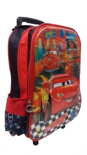 mochila escolar infantil carros rodinha relâmpago mcquem 3d