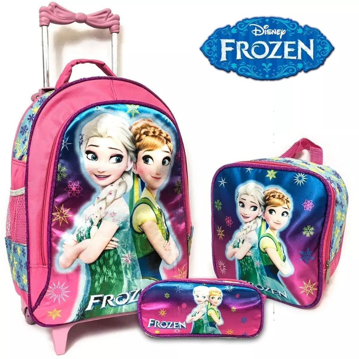 13669650f mochila escolar infantil feminina frozen rodinhas grande kit. Carregando  zoom.