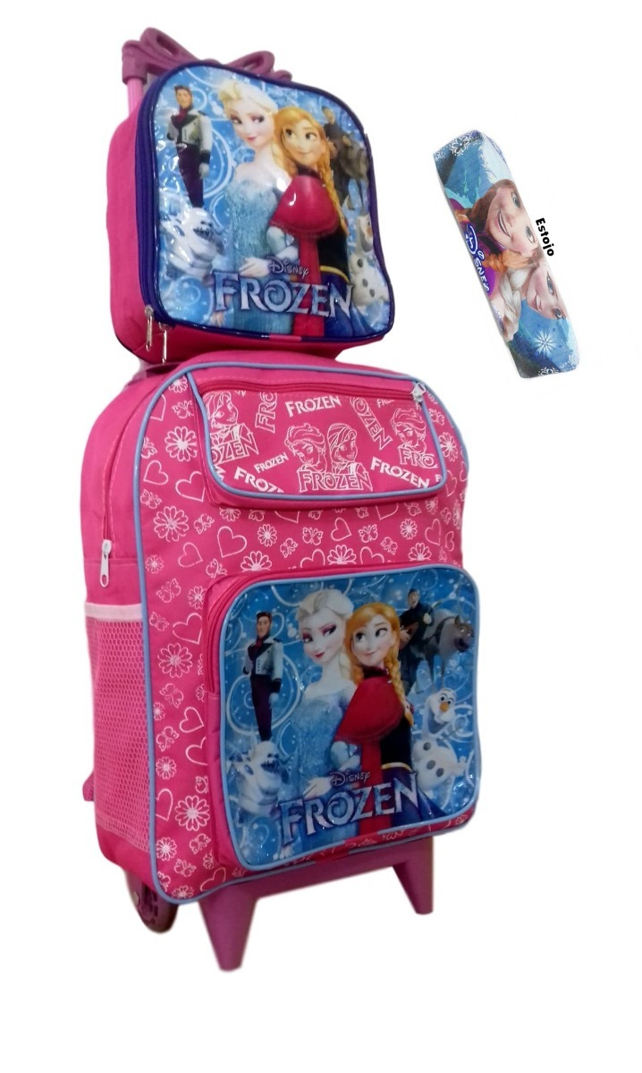 f3d531b28 mochila escolar infantil frozen lancheira rodinhas rosa. Carregando zoom.