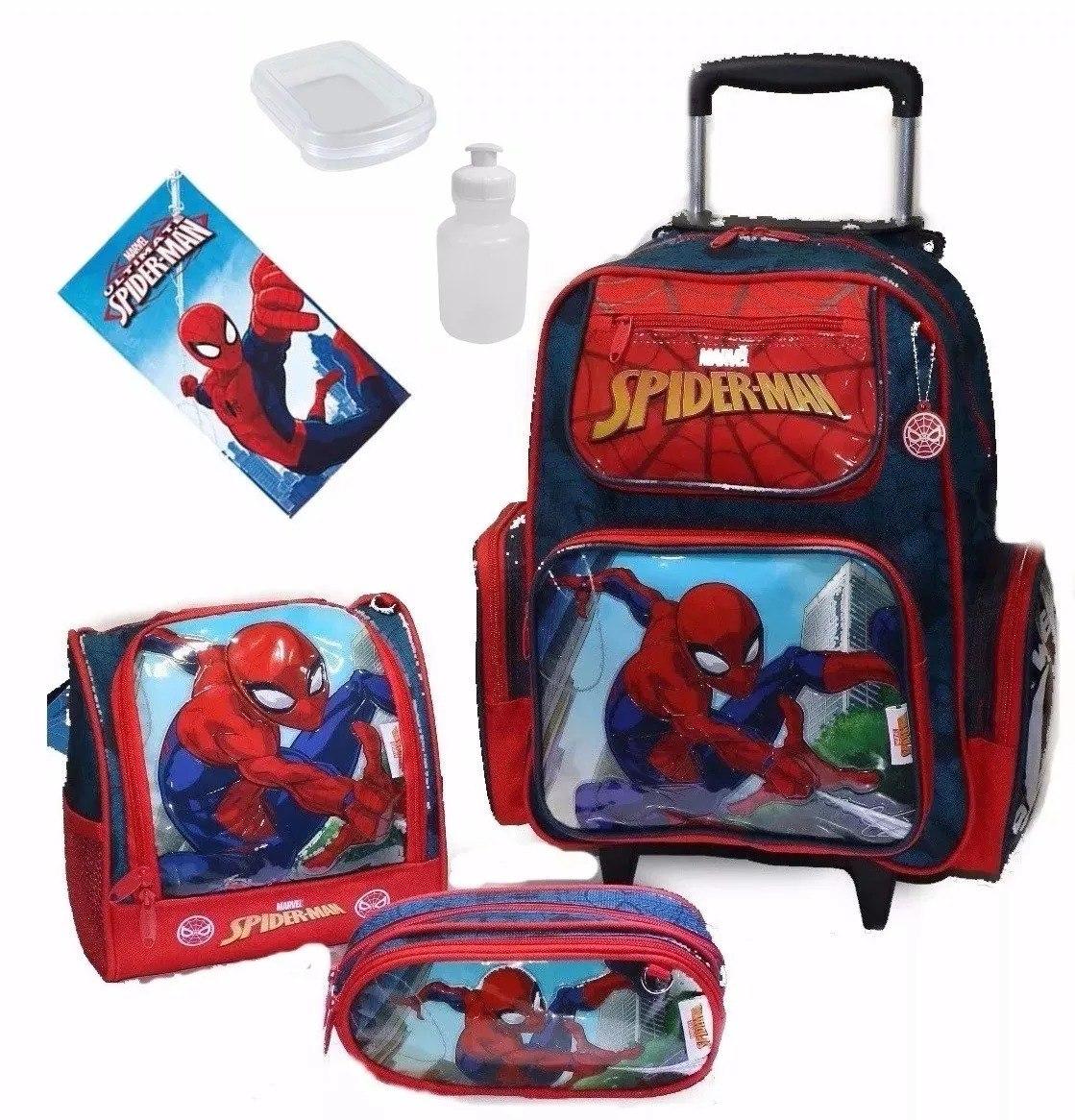 3f823aadb mochila escolar infantil homem aranha + lancheira - estojo. Carregando zoom.