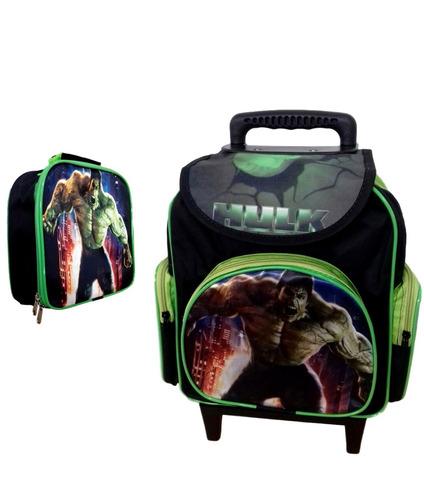 mochila escolar infantil hulk baby tam p e lancheira térmica