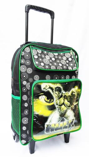 mochila escolar infantil hulk com rodinhas grande