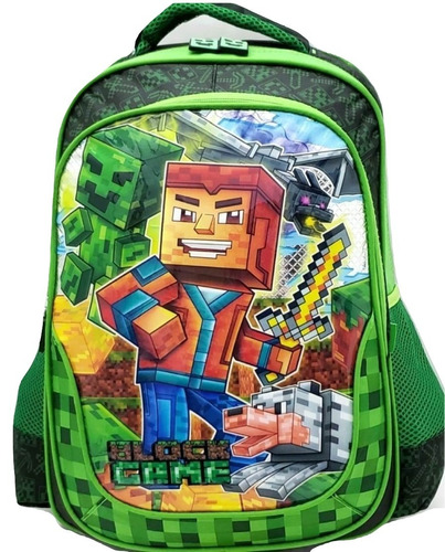 mochila escolar infantil menino media mine craft verde 3625