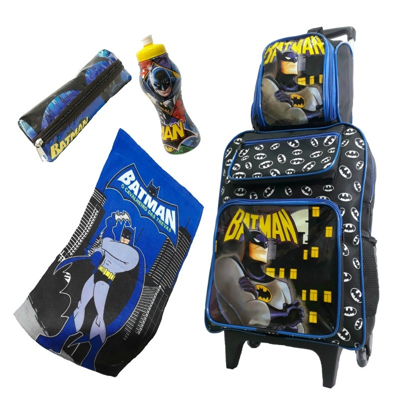 322ea8f51 mochila escolar infantil meninos batman rodinha kit promoção. Carregando  zoom.