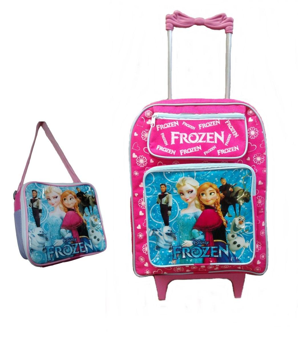 bc166dad5 mochila escolar infantil rodinhas kit frozen lancheira azul. Carregando zoom .
