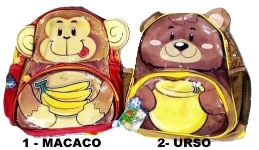 8bdfde254 Mochila Escolar Infantil Urso Ursinho Macaco Macaquinho - R$ 59,90 ...