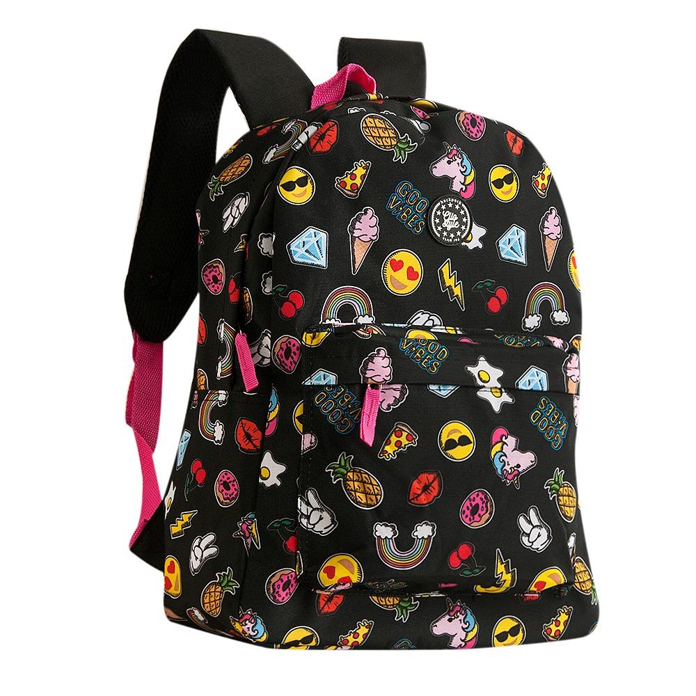 c9fe3a1c3 mochila escolar juvenil emojis gr mf8108 clio style. Carregando zoom.