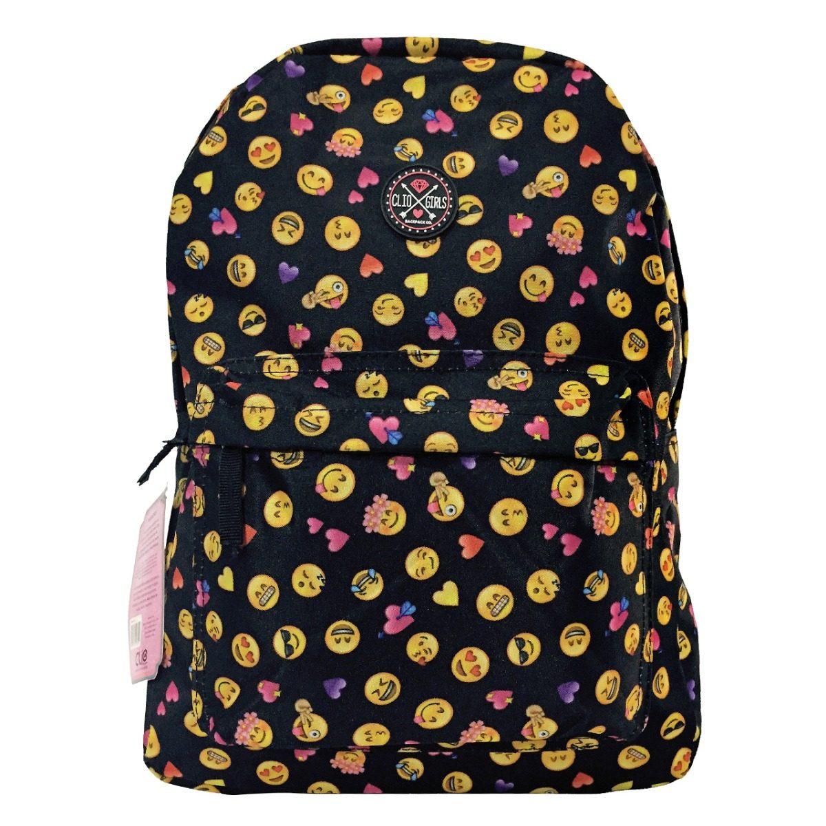 3b01dc9c9 mochila escolar juvenil preta emoji emoticon promoção. Carregando zoom.