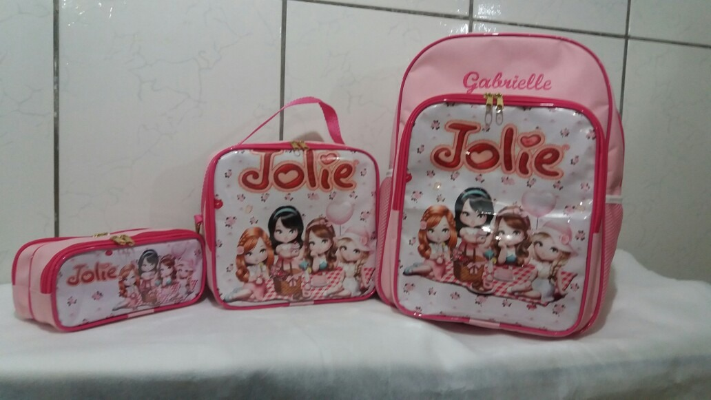 892699c61 mochila escolar + lancheira + estojo duplo personalizada. Carregando zoom.