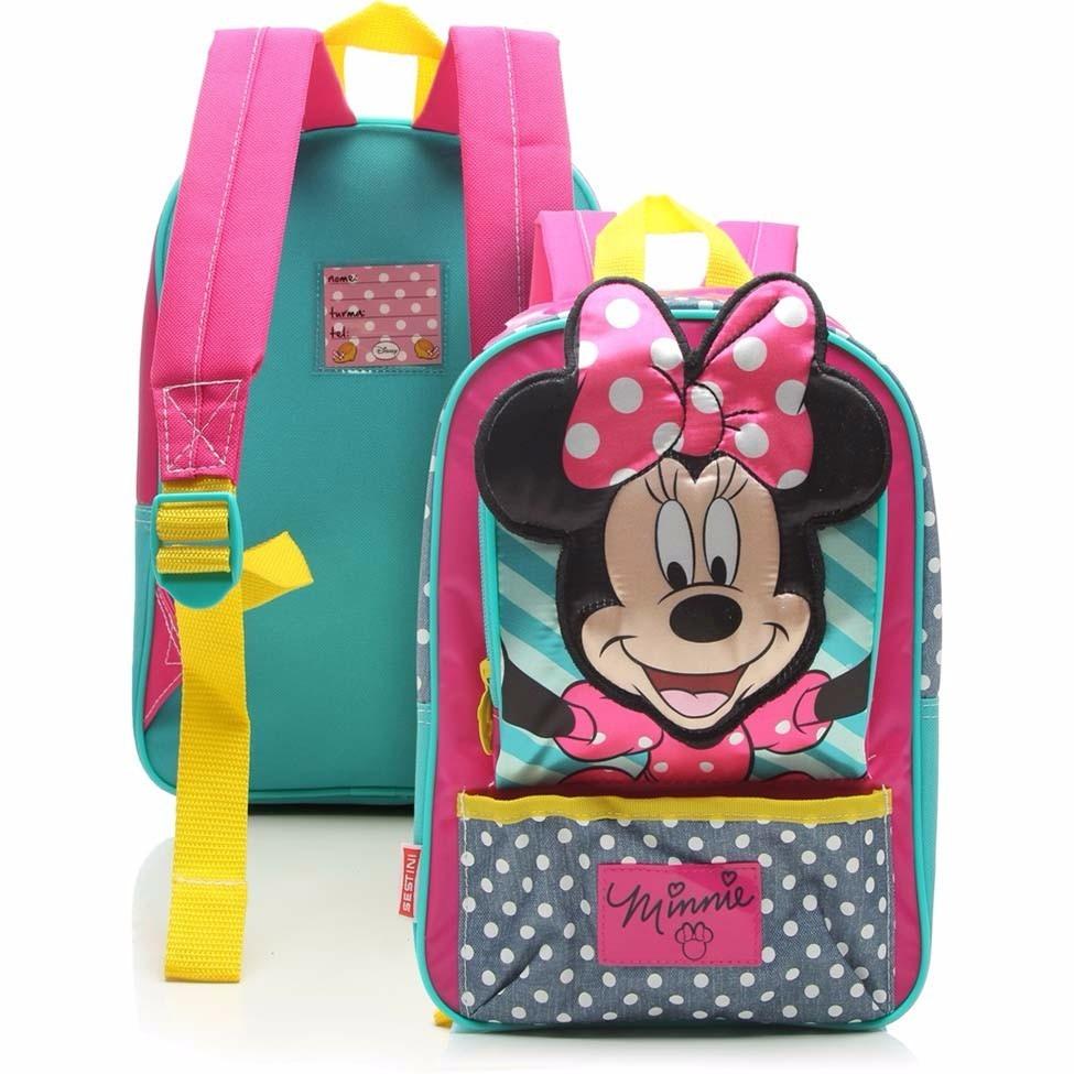 b1bfe0e46 mochila escolar minnie 16y sestini rosa tam m costas. Carregando zoom.