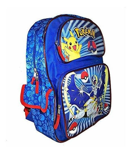 mochila escolar para niños de pokemon y amigos rojo y negro