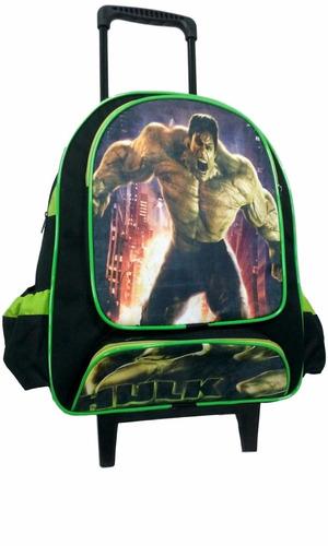 mochila escolar personagem hulk infantil  rodinha incrivel