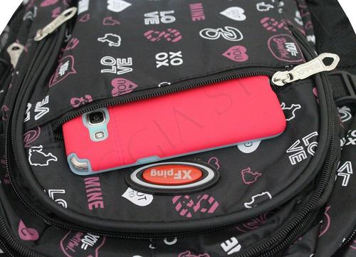 mochila escolar rodinhas feminina semi impermeável 2102