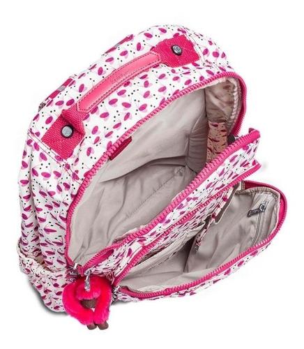 mochila escolar seoul up branca e rosa pink wings kipling