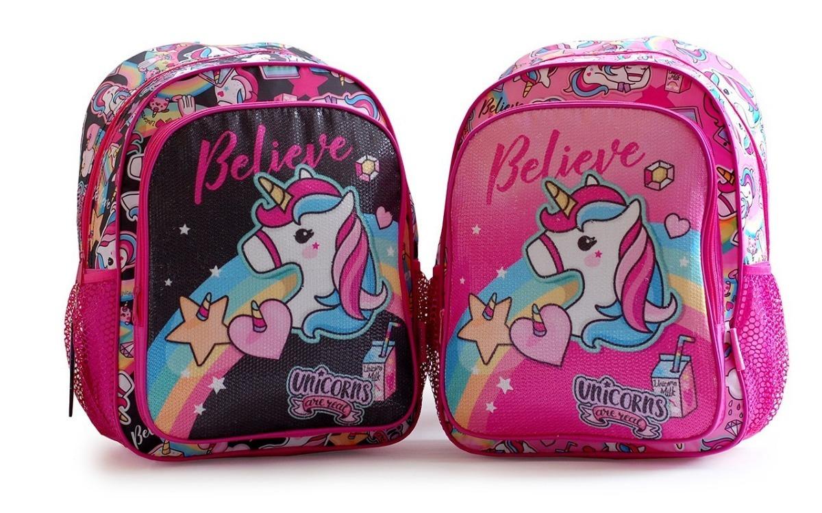 8a4d2450c mochila escolar unicornio lentejuelas espalda 2 cierres. Cargando zoom.