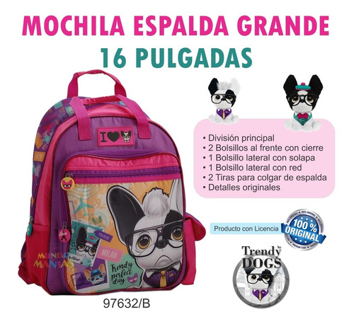 mochila espalda grande 16 pulg trendy dogs 97632 mundomanias