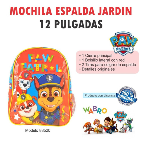 mochila espalda jardin paw patrol original wabro mundomanias