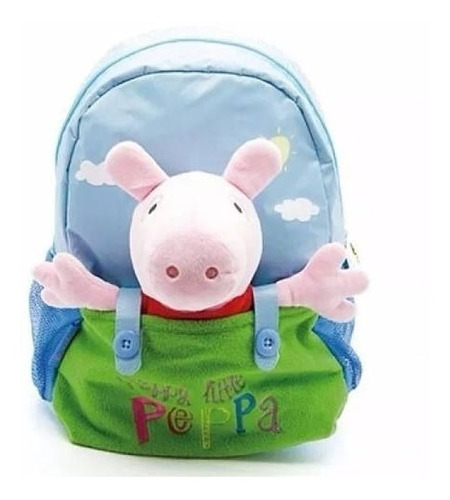 mochila espalda peppa pig celeste 12 con peluche oficial