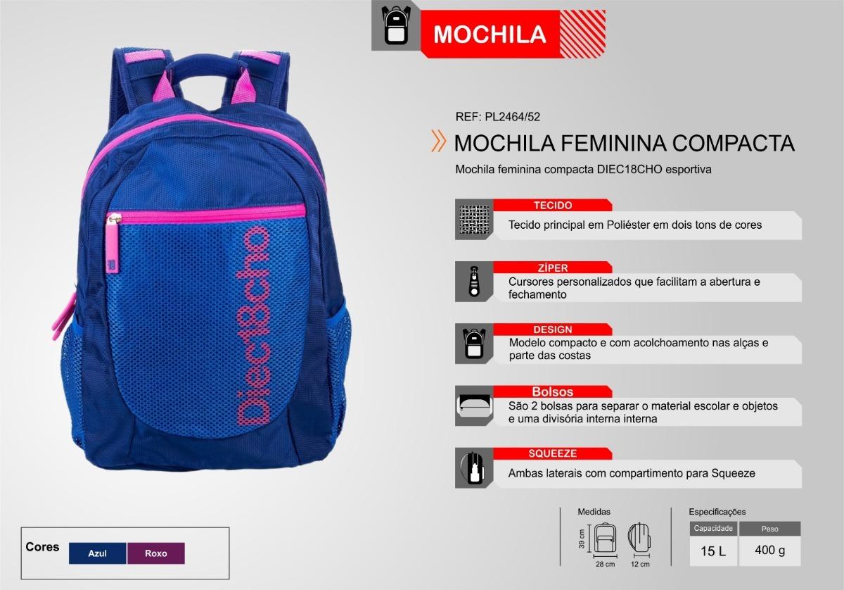 23b98f250 Mochila Esportiva Compacta Diec18cho - R$ 118,42 em Mercado Livre
