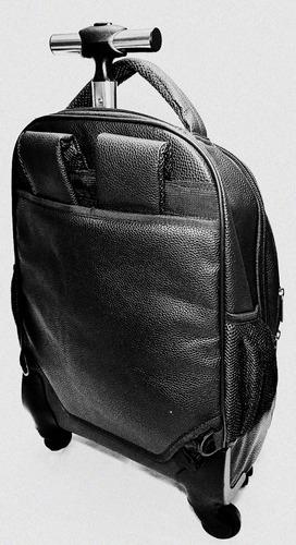 mochila executiva 4 rodinhas 360º puxador alça costas pu