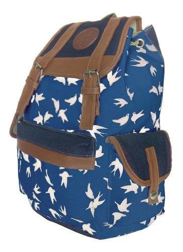mochila feminina bolsa escola juvenil listrada azul trabalho