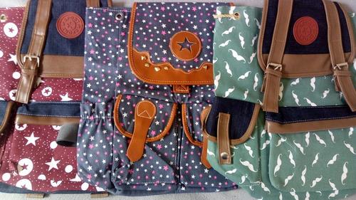 mochila feminina bolsa lona escolar notebook várias estampas