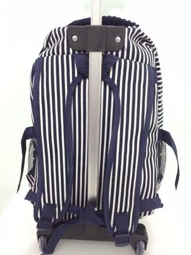mochila feminina com rodinhas estampas listras azul linda