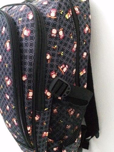 mochila feminina com rodinhas reforçada coruja preta