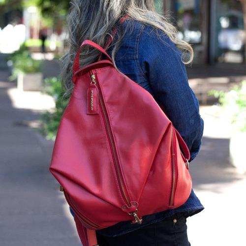 45e082bb06 Mochila Feminina Em Couro Vermelha Vermelho - R  517