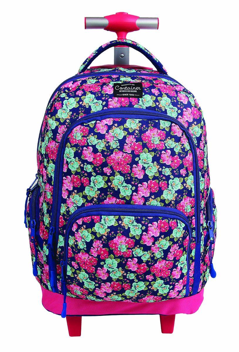 252921dae mochila feminina escolar infantil com rodinha de flores roxa. Carregando  zoom.
