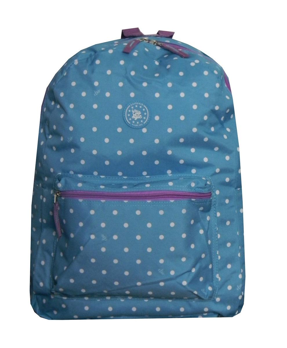 4f21cc3da Mochila Feminina Escolar Juvenil Clio Azul Bolinhas Brancas - R$ 58 ...