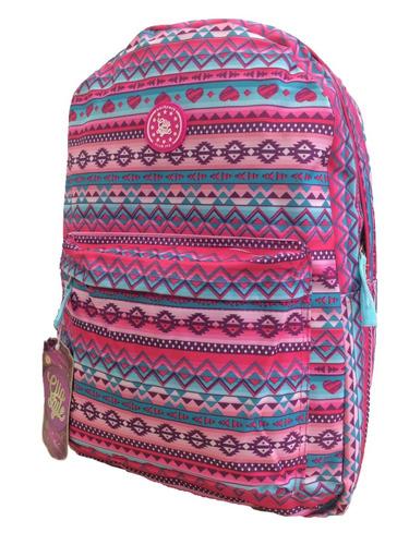 mochila feminina étnica cor rosa escolar boa e barata