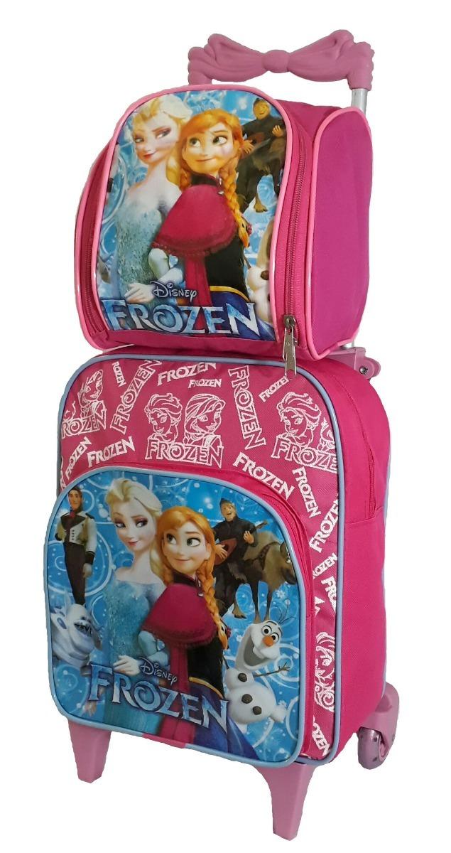 886086f6f mochila feminina infantil frozen com rodinhas lancheira rosa. Carregando  zoom.