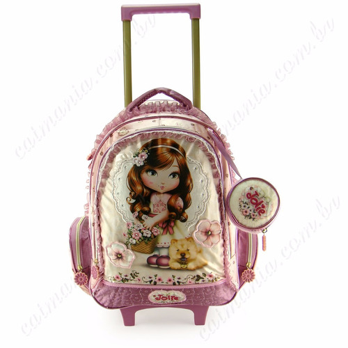mochila feminina infantil rosa jolie rodinhas muito linda
