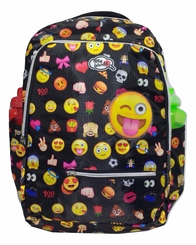 77040b919 mochila feminina juvenil emotions emoji preto oferta. Carregando zoom.