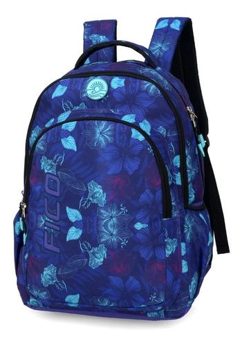mochila fico azul marinho floral - 48601