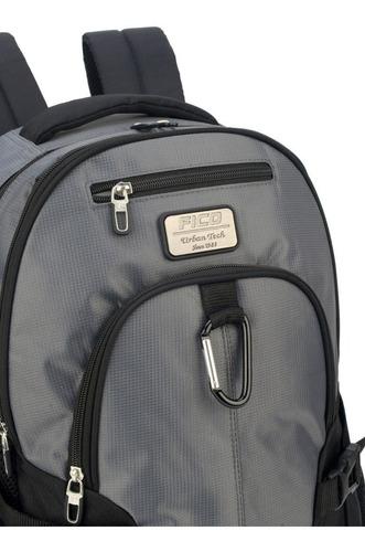 mochila fico cinza  com mosquetão de metal - 48613