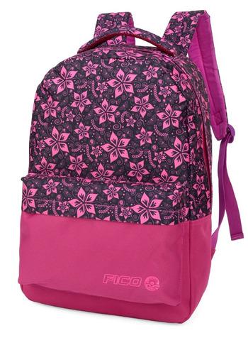 mochila fico floral rosa - 45677