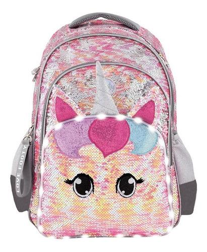 mochila footy unicornio lentejuela espalda 18 luces led