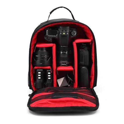 mochila fotográfica impermeável p/ câmeras dslr vermelha +nf