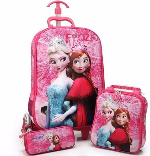 Bolsa Escolar Feminina Da Frozen : Mochila frozen d kit lancheira estojo frete