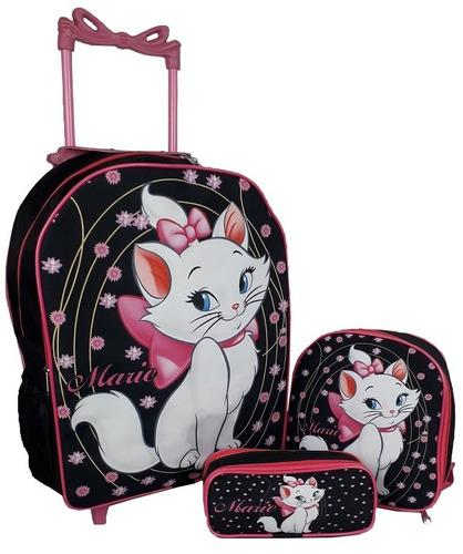 mochila gatinha marie de rodinha escolar kit tamanho g
