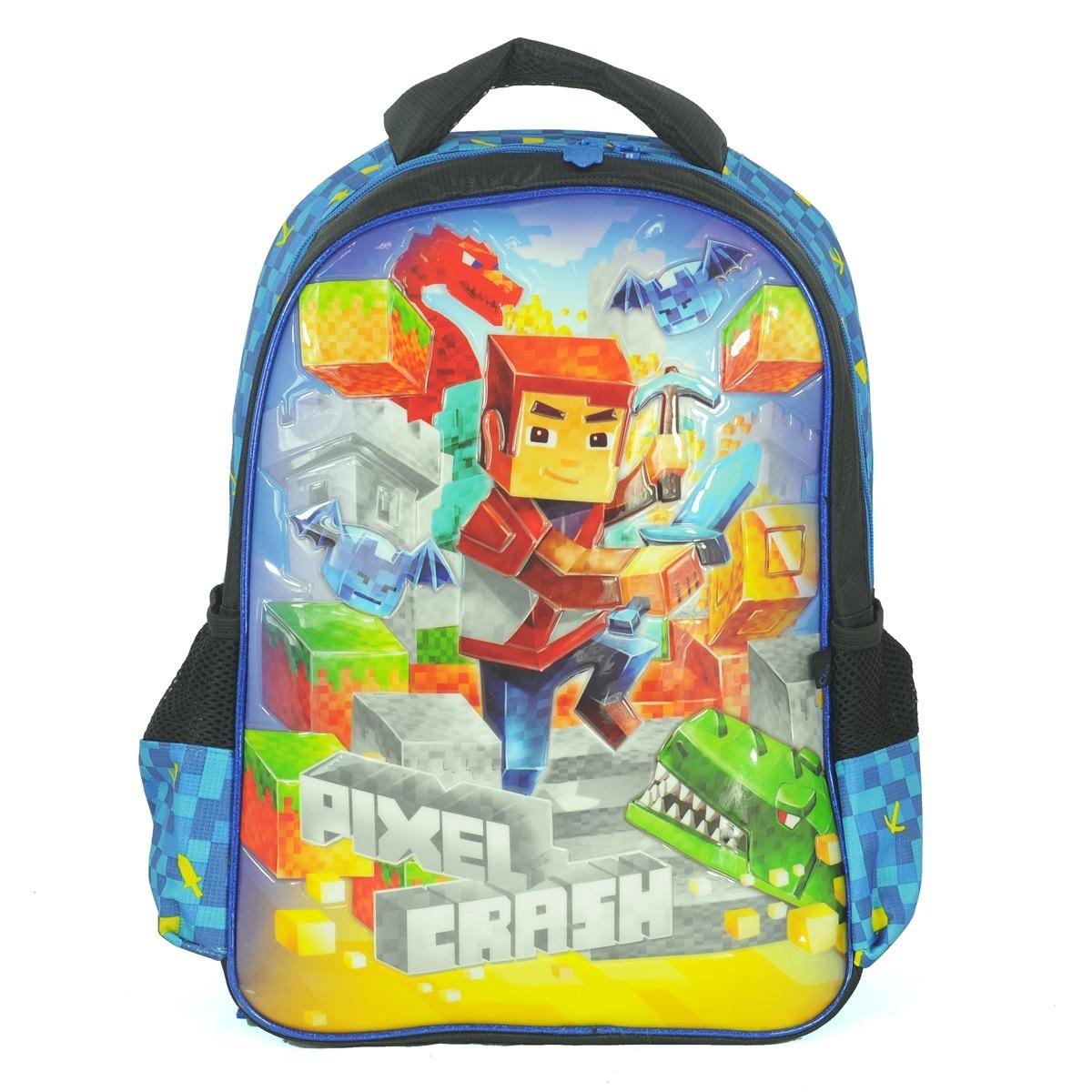 30f86a810e mochila grande costas pixel minecraft azul sucesso de vendas. Carregando  zoom.
