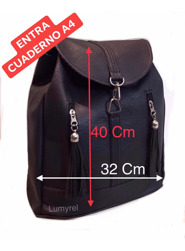 mochila grande cuero negra marrón azul mujer salir cartera