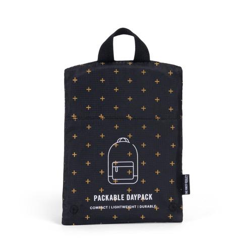 mochila herschel supply plegable daypack black gridlock gold